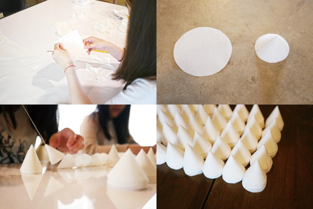 三角錐在製作中錦然有序的排列,成了桌面有趣的小風景