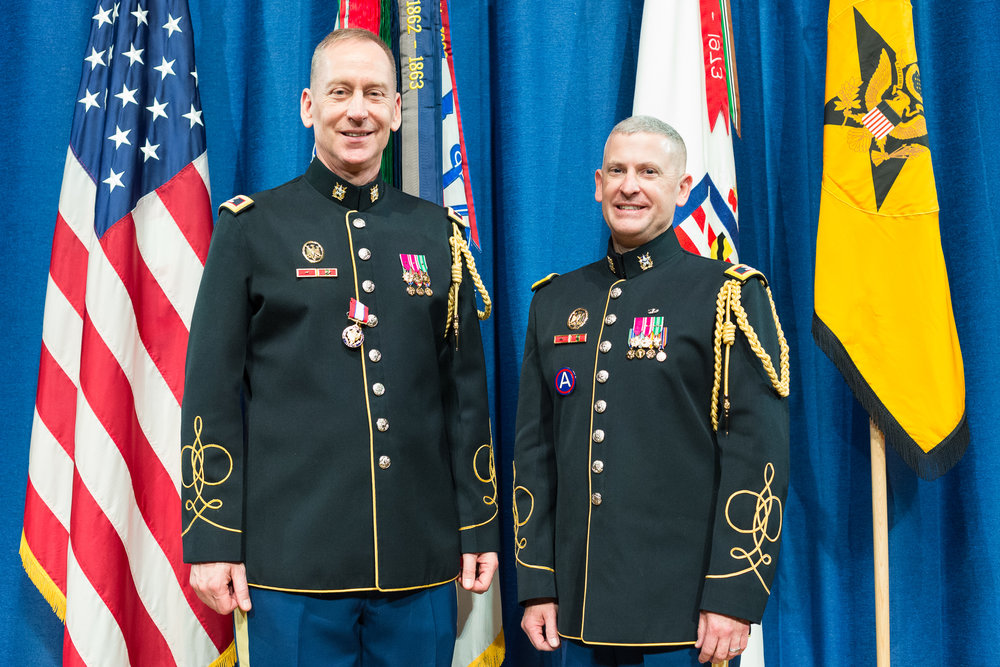 Col. Timothy J. Holtan (left) and Col. Andrew J. Esch