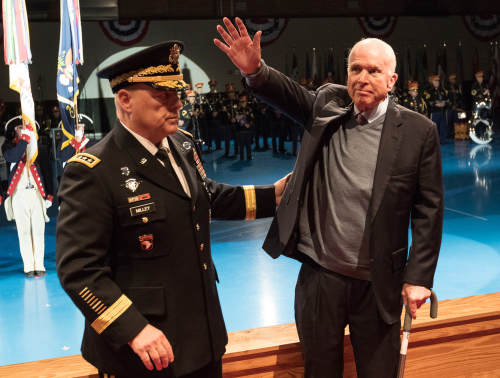 Sen. John McCain (r) and Army Chief of Staff Gen. Mark A. Milley