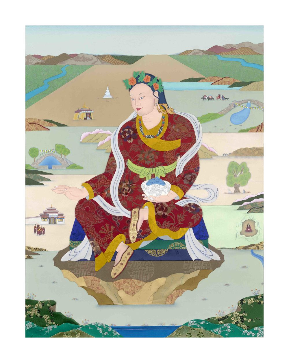 Khandro Yeshe Tsogyal at her birthplace, Tsogyal Latso. Applique thangka by artist Leslie Nguyen Temple commissioned by Jnanasukha Foundation. Digital prints available for purchase.