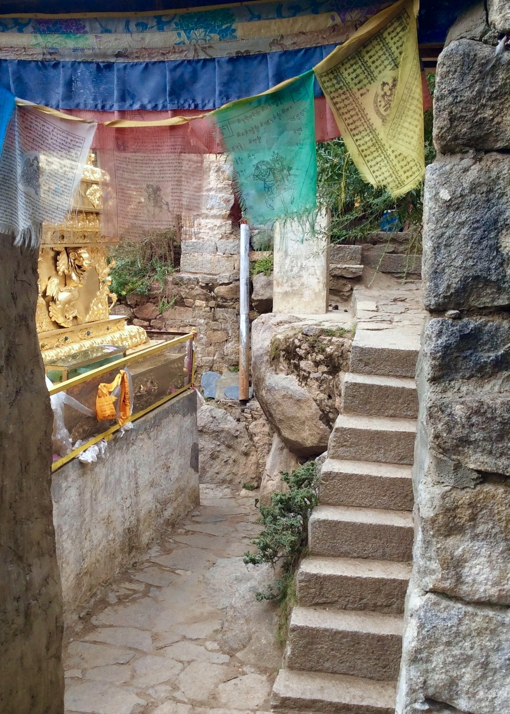 Stone and Prayer Flags, Chimpu Hermitage