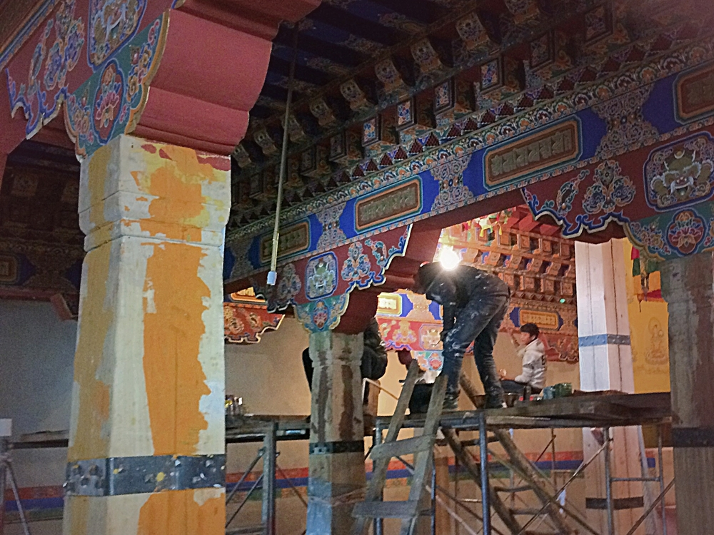 Sacred art in progress inside the new temple