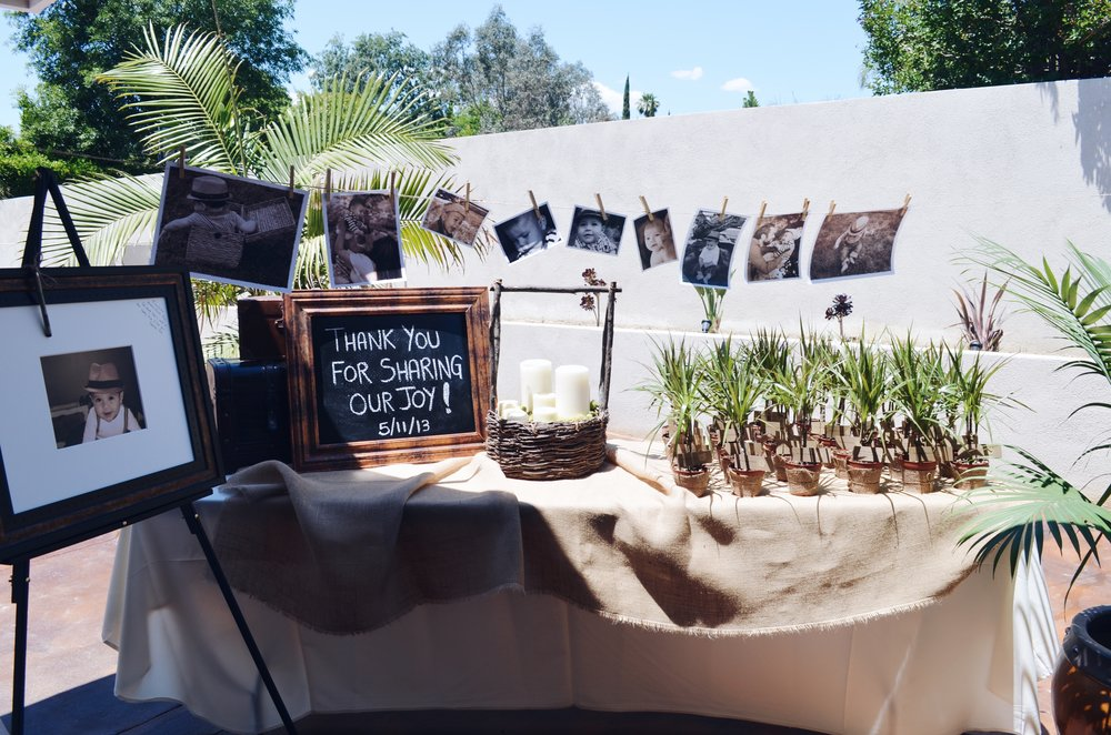 The entrance table with the plant favors and guest sign-in