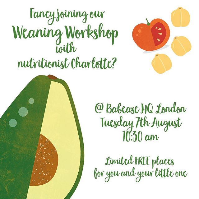 COME JOIN US AT BABEASE HQ! Comment ⬇️ or DM us to be in with a chance to join our weaning workshop with Tom and nutritionist Charlotte ... spots are limited and first come first served.  Starting at 10.30am on Tuesday, Tom and Charlotte will be running through their top tips on introducing food, baby led vs spoon feeding, and what to do when you're little one refuses food.  Lots of nutritious snacks for the babies and teas and coffees for mum and Dad (fingers crossed you can drink the whole thing before it goes cold 😂) Can't wait to see you there! 🥕🥦🤟 . . . #babease #babyledweaning #weaningtips #weaningworkshop #weaningideas #firstfoods #fingerfoods #futurefoodies #mumtips #dadtips #foodforbabiesnotbabyfood  #babyfood #babylove