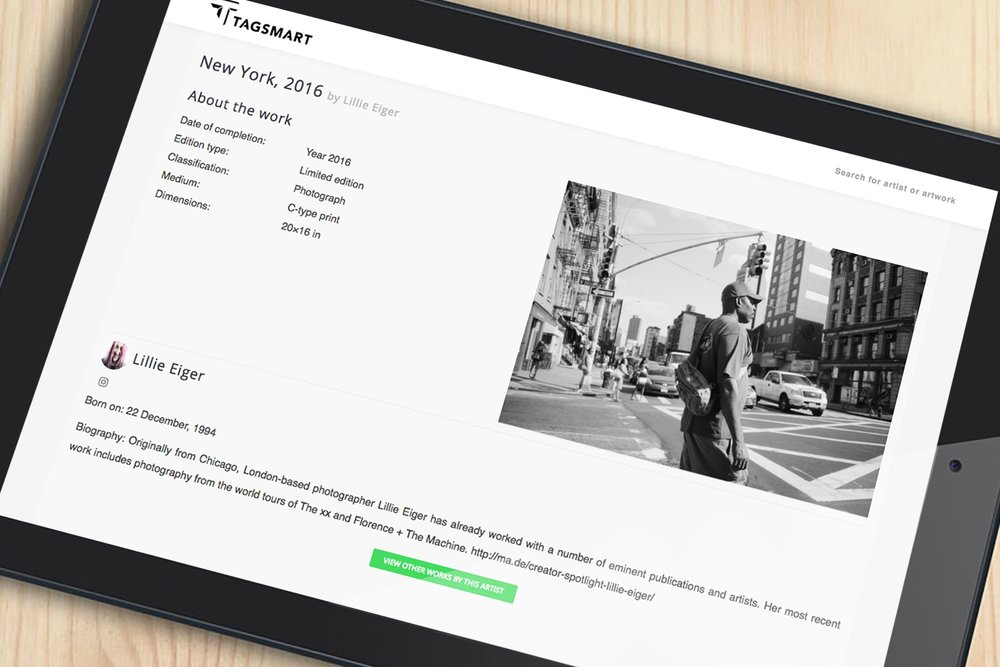 PROVENANCE RECORD Tagsmart Art Certificate