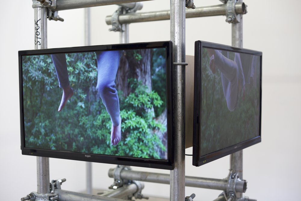 Eugene Choi, Body Scaffold (Tesseract), 2015 (detail), 4-channel video installation, galvanised steel, cast steel clamps, plywood