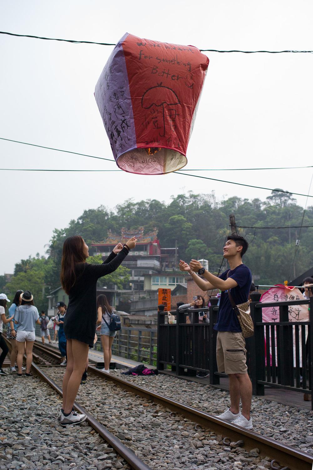 Floating sky lantern at Pingxi 平溪