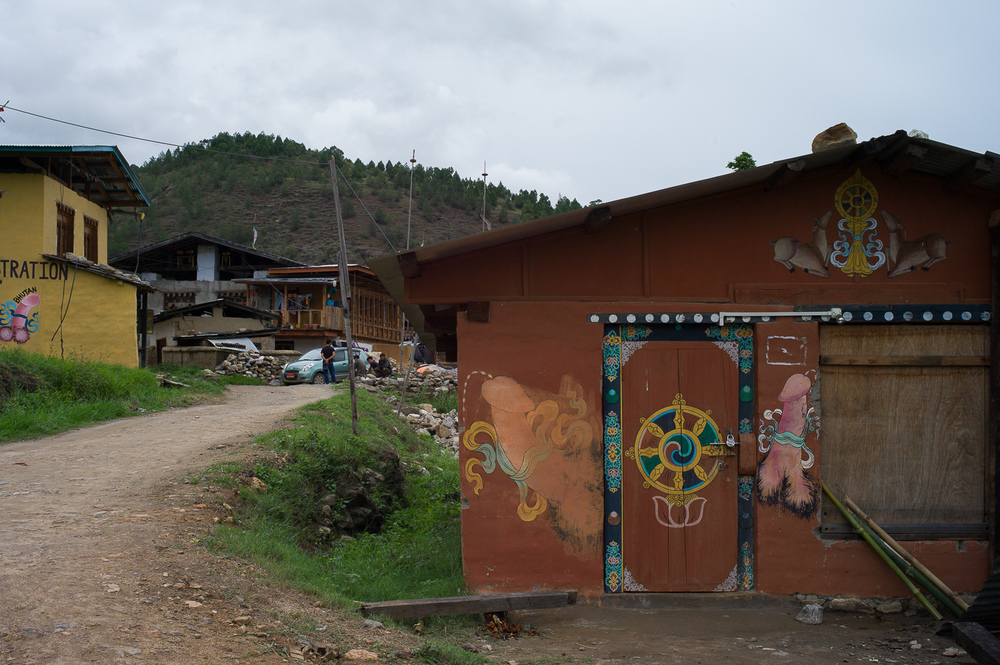 Notice the paintings around this town near Fertility Temple. This temple was blessed by Divine Madman who advocated the use of phallus symbols, Punakha