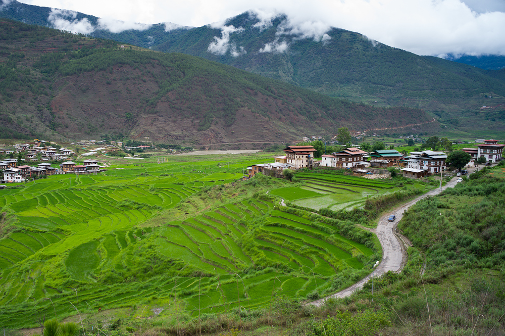 From a viewpoint on top of Punakha prior to our arrival of the Fertility Temple