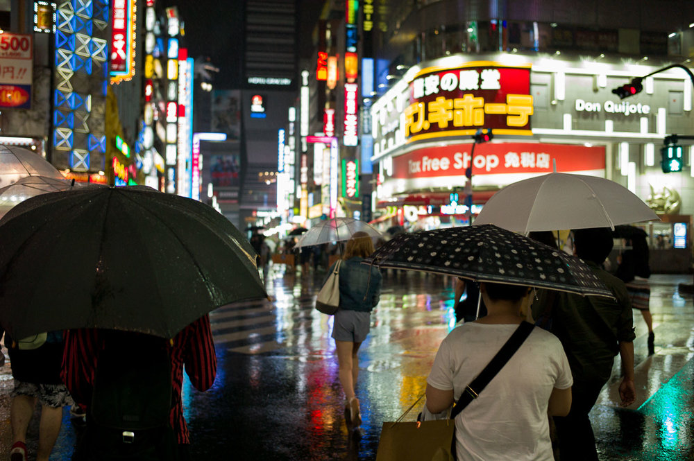 Entrance of Kabukicho looks more colorful with rain reflections