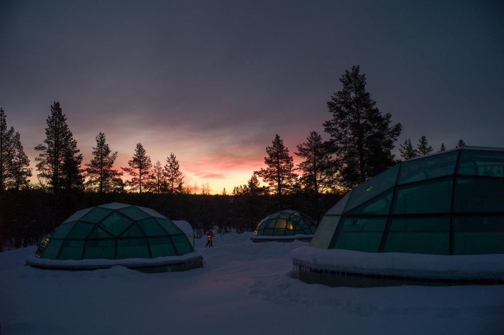 Morning Sunrise at around 930AM local time., Kakslauttanen Arctic Resort