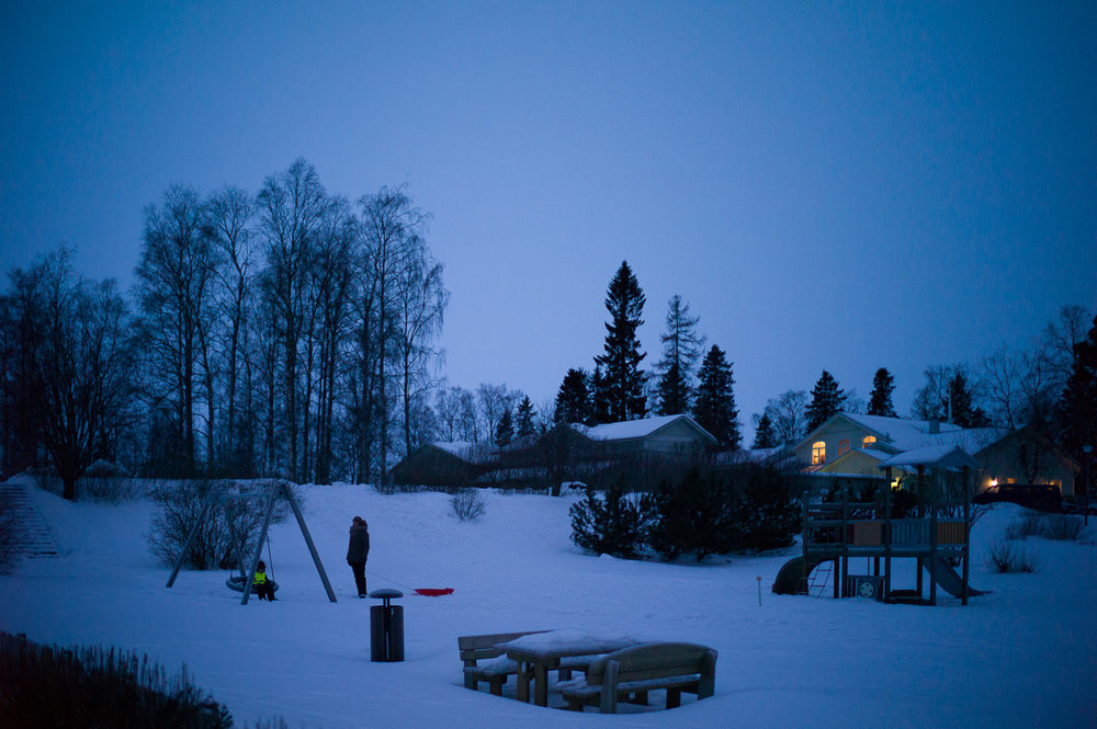 Quite neighbourhood during Blue Hour in Kemi