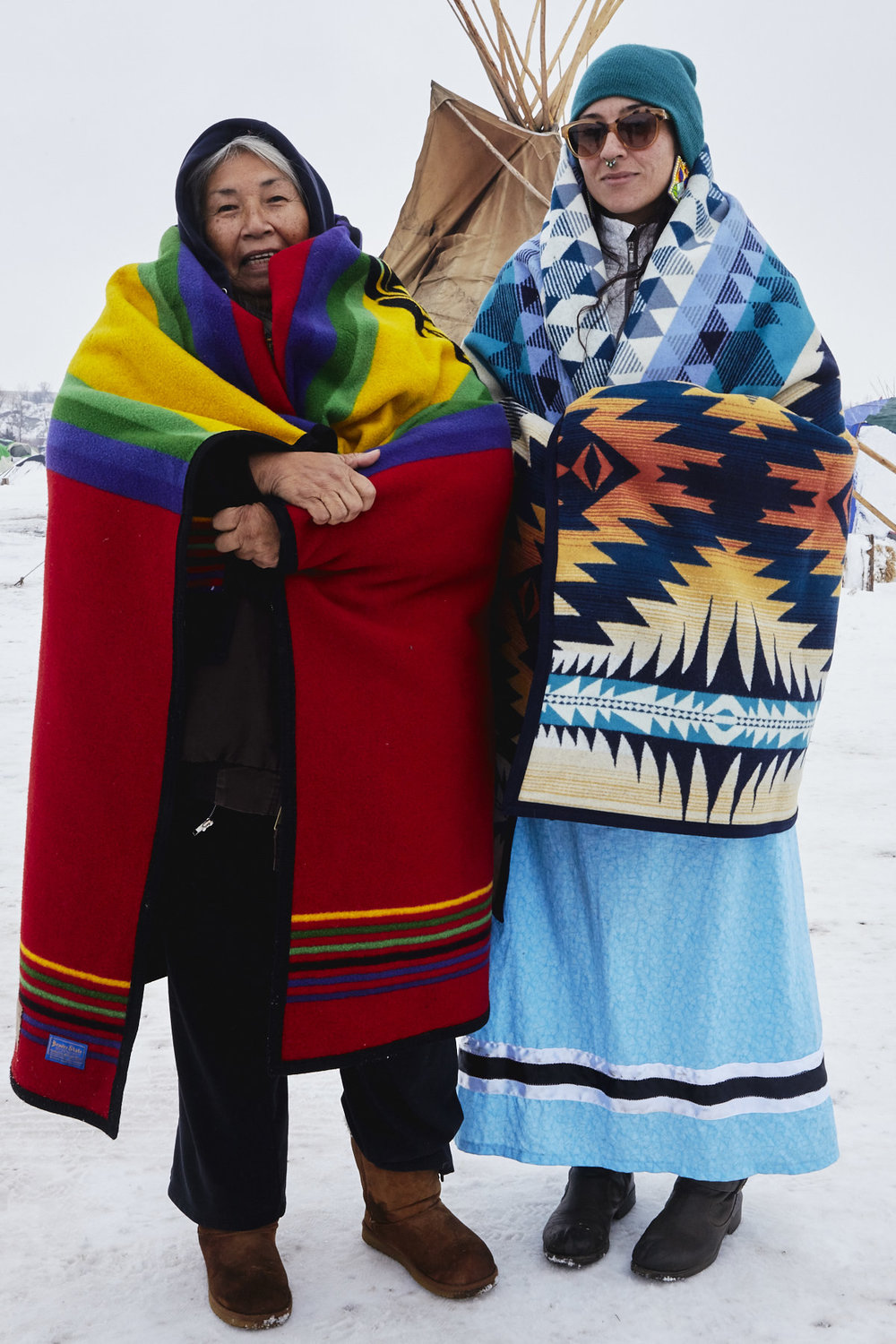 Faith Spotted Eagle and her daughter, Brook, from the Yankton Sioux (Ihanktonwan Dakota Oyate) tribe in Yanktown Reservation, South Dakota