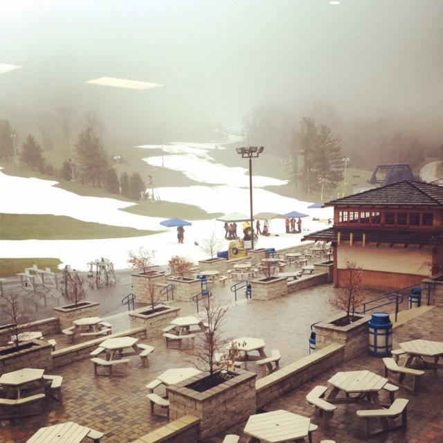 The patio of the Alpine Lodge at Liberty Mountain Resort.