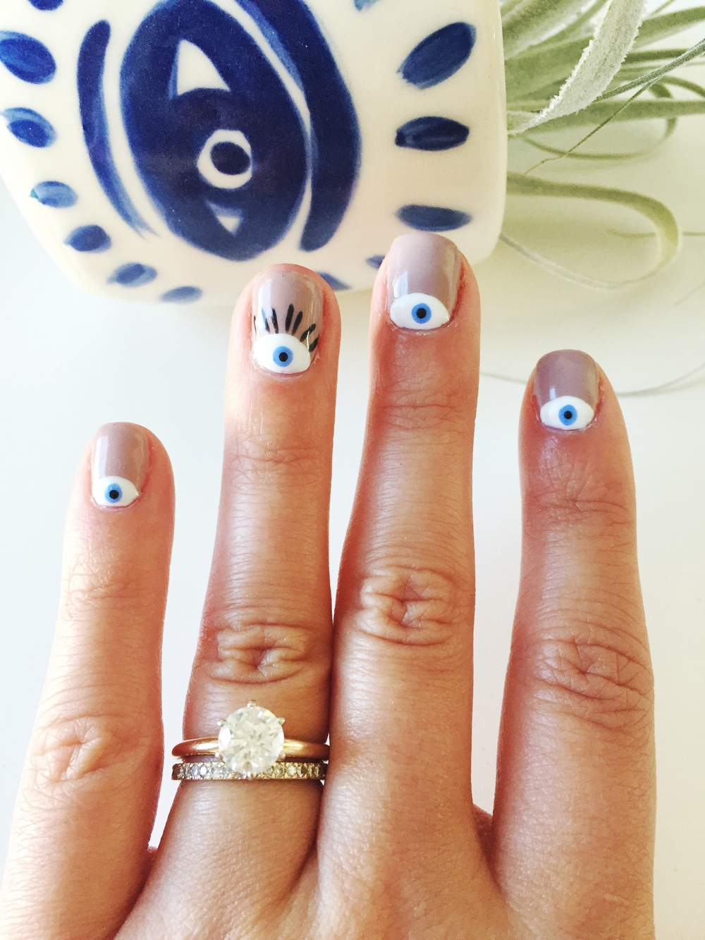 Evil Eye Nail Design | Nail Art: A Sit Down with Nail Artist Janean Johnson Nails | Shotgunning for Love Letters