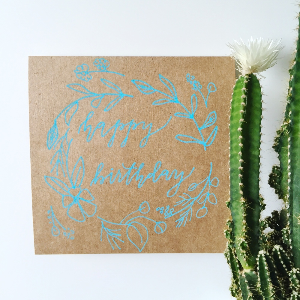 Calligraphy birthday card on kraft paper
