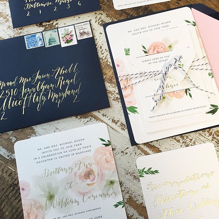 Floral and Calligraphy Invitation Suite featuring Shotgunning for Love Letters, mlc designs, Eventi by Diana
