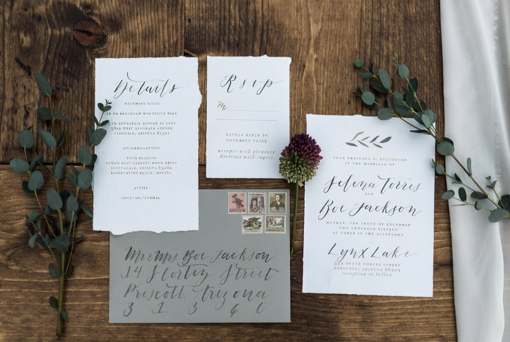 Arizona Lakeside Winter Elopement with Saje Photography | Shotgunning for Love Letters | Calligraphy Wedding Invitations with Watercolor Leaf