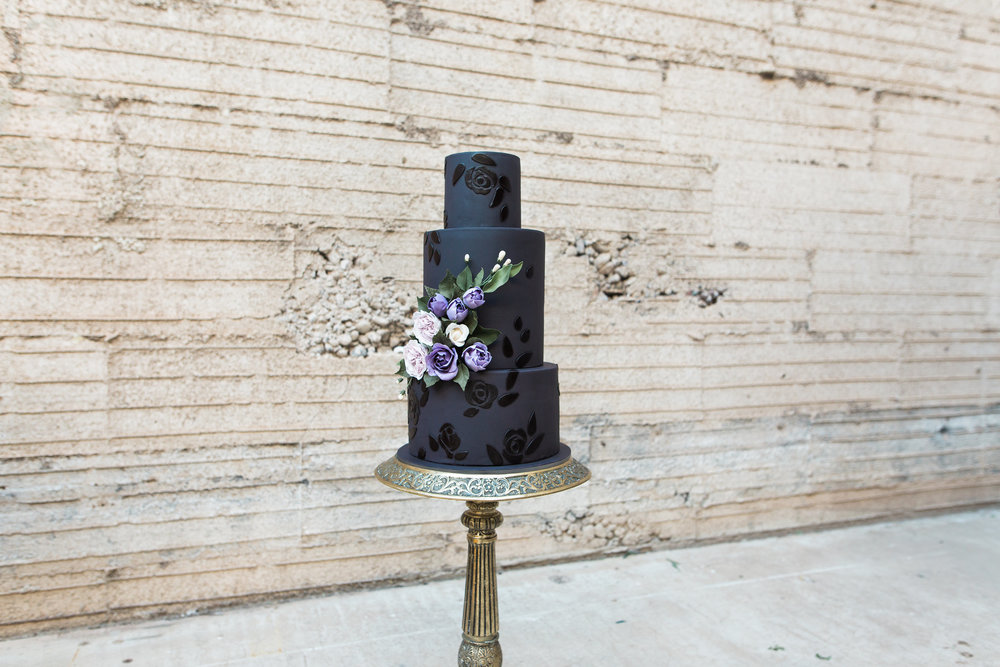 Haunting Vampy Halloween Bride and Wedding Editorial | Black Wedding Cake