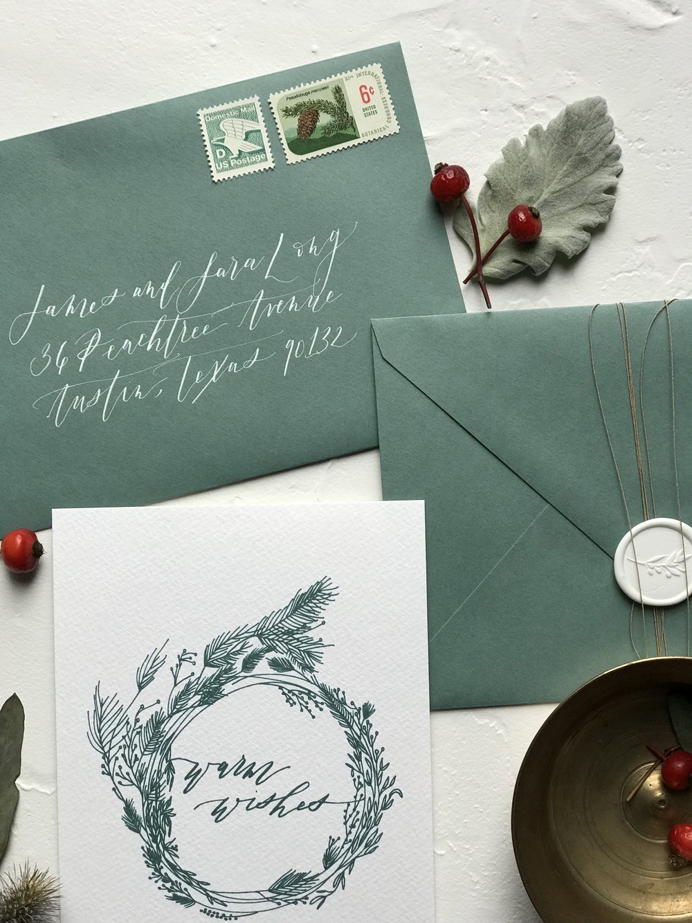 Christmas and Holiday Cards: Warm Wishes Wreath - Calligraphy | Shotgunning for Love Letters