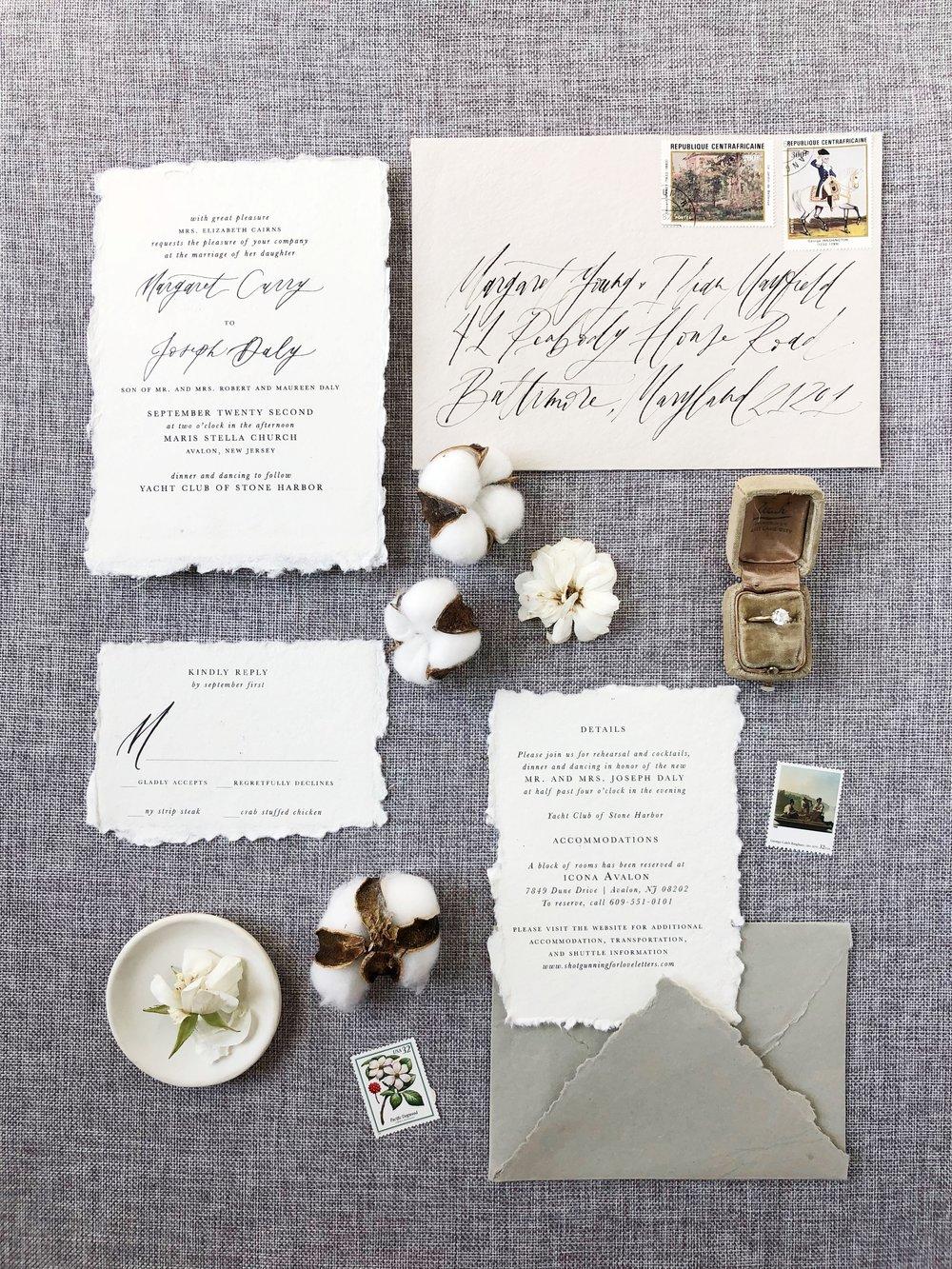 Semi Custom Wedding Invitations | Shotgunning for Love Letters Calligraphy