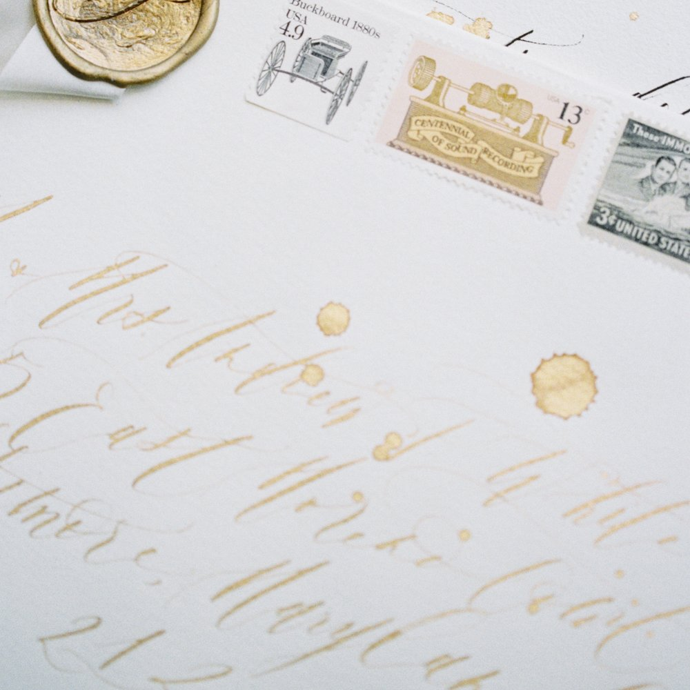 Semi Custom Calligraphy Wedding Invitations | Shotgunning for Love Letters, Baltimore, MD