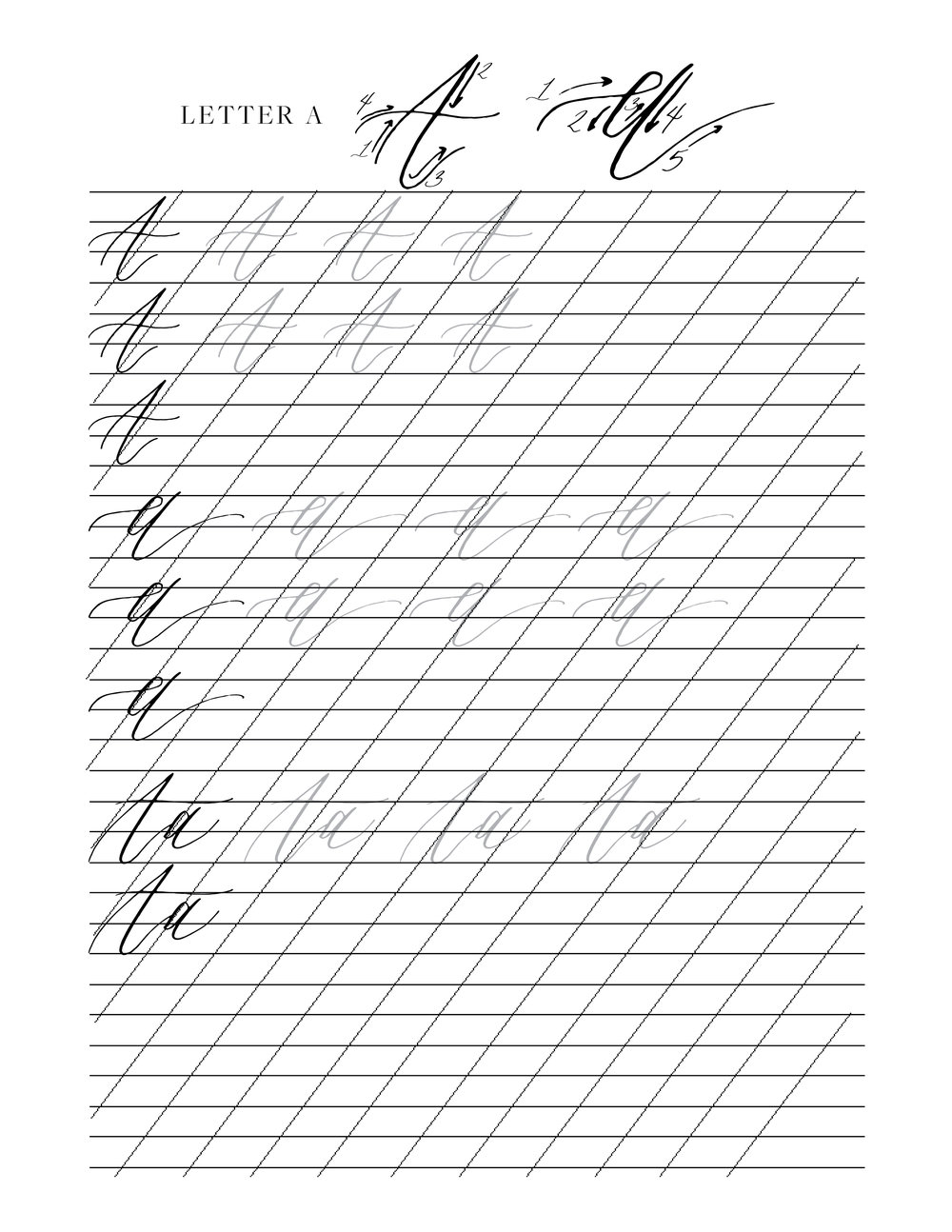 Learn Modern Calligraphy Practice Sheets - Download & Print | Shotgunning for Love