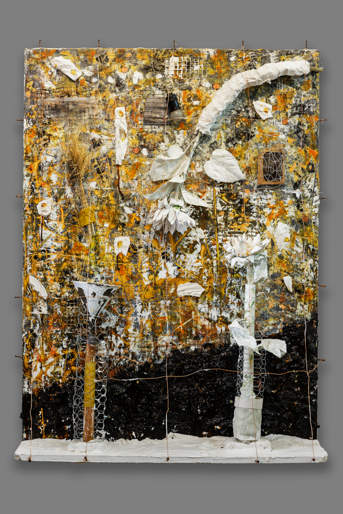 Excavation  Mixed media on panel 48 x 36 x 9 in./ 121.9 x 91.4 x 22.8 cm