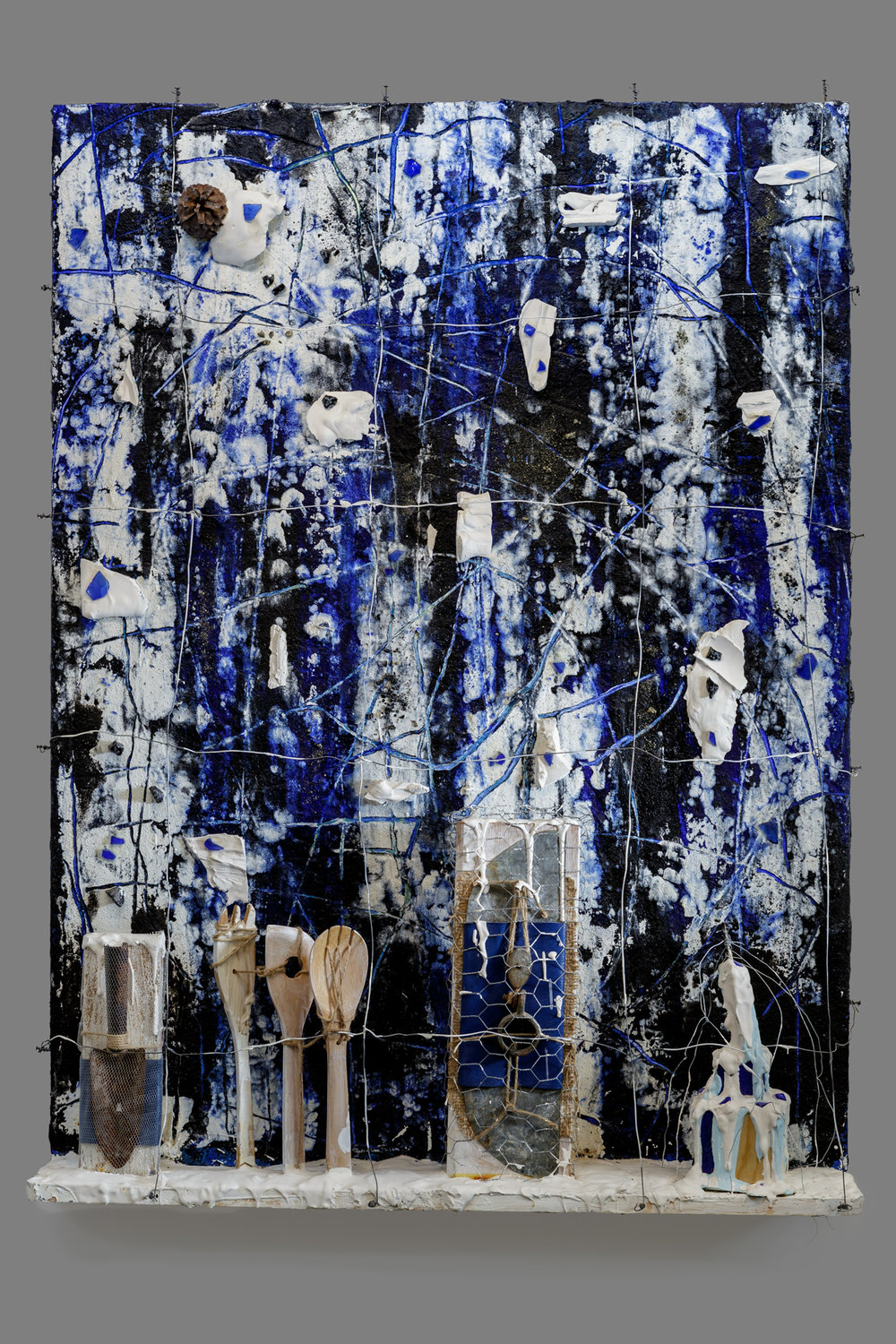 Harmony in Blue  Mixed media on panel 48 x 36 x 7.5 in. /121.9 x 91.4 x 19 cm.