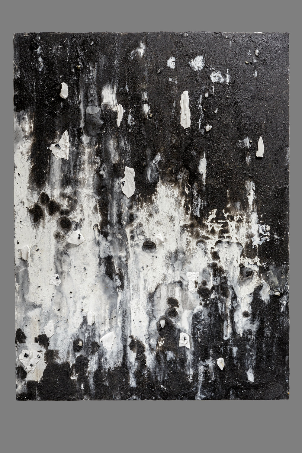 Noir  Oil, sand, wax, hydrocal fragments, quartz, obsidian and citrine 48 x 36 in. / 121.9 x 91.4 cm.