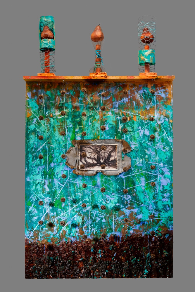 Nature's Tabernacle  Mixed media on panel 64 x 36 x 5 in. / 163 x 91.4 x 12.7 cm.