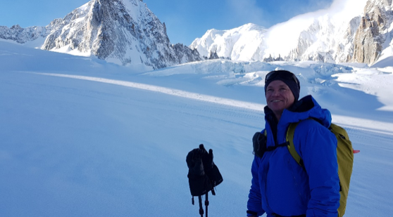 Stian Hagen, on the Mer de Glace above Chamonix. Photo Al Morgan.