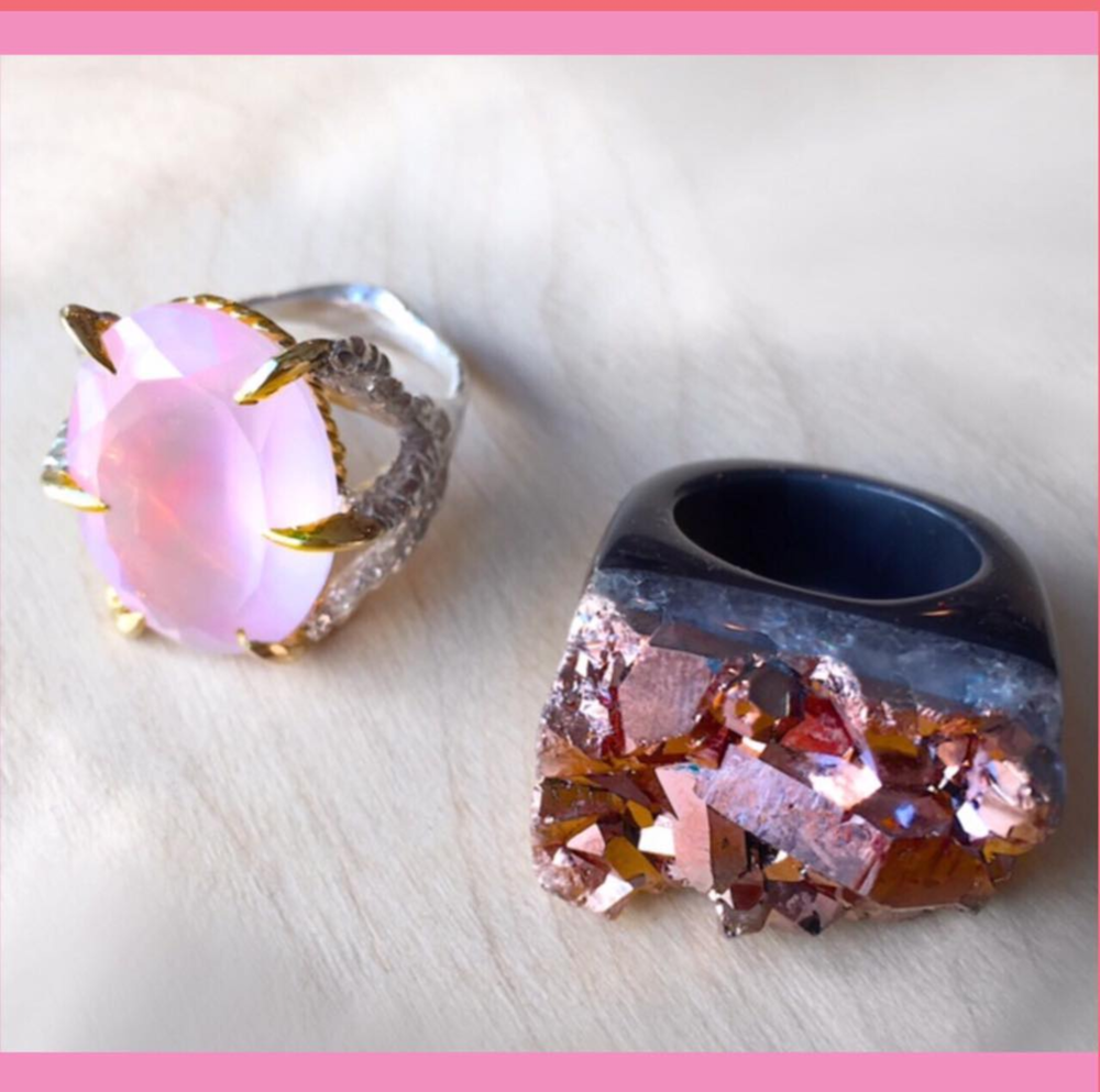 Tessa Metcalfe rose quartz claw ring £350 and Decadorn rose gold sprayed agate ring £69