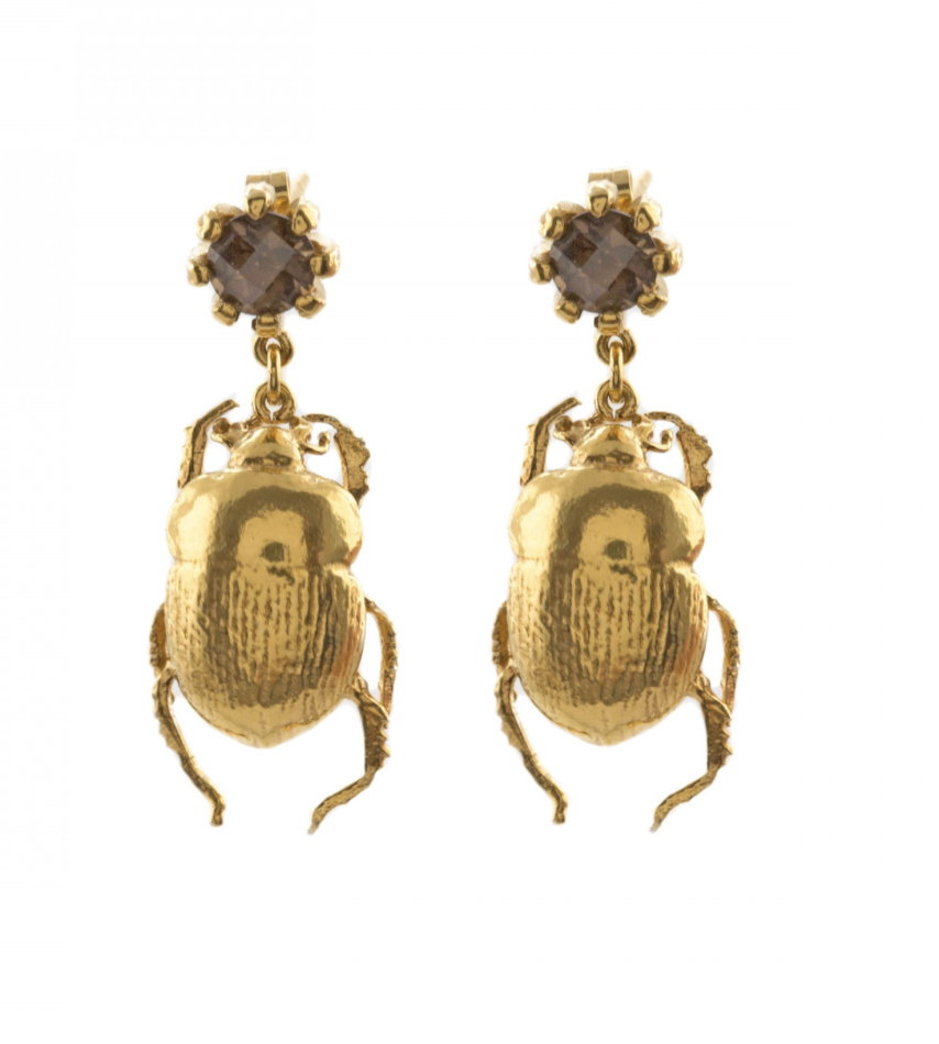 Who says insects are creepy? These regal looking gold Dor beetles are chasing real  nuggets of Smokey Quartz. As worn by Thandie Newton. What could be more glam?!