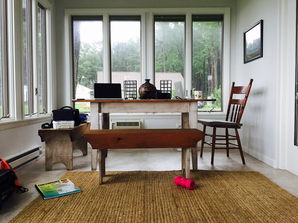 The set up when we can't get out on the water: data entry in the sunroom. Photo by Kate Jin.