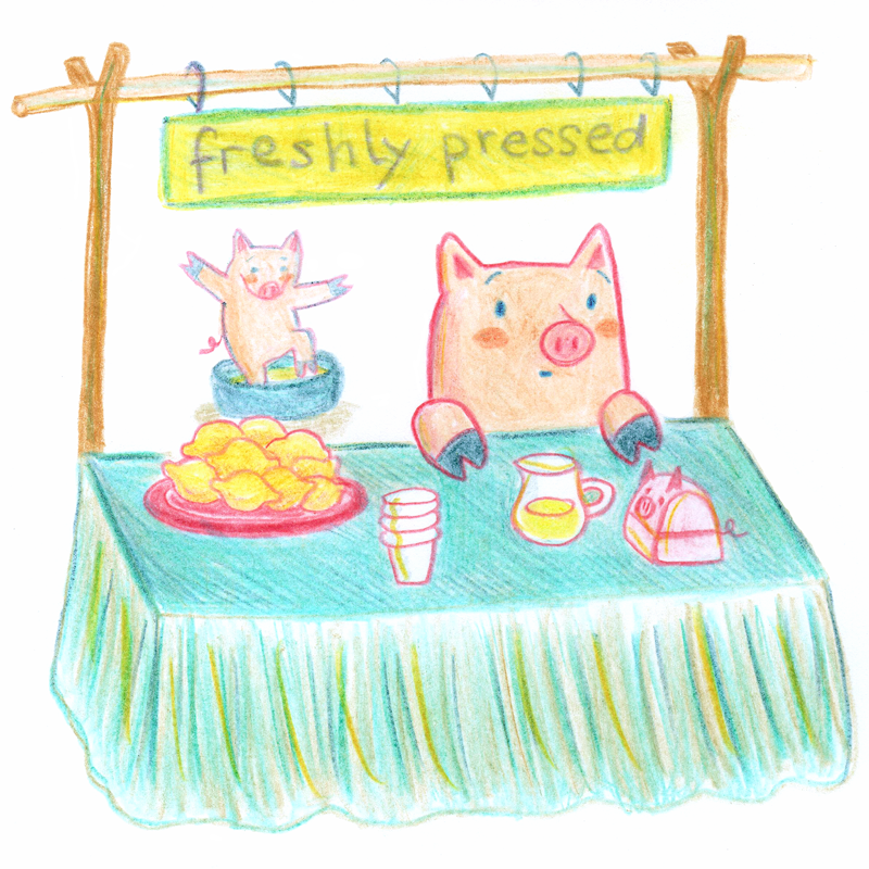 Pete's and Fred's lemonade stall - a pig start-up business (c) by Romica Spiegl-Jones