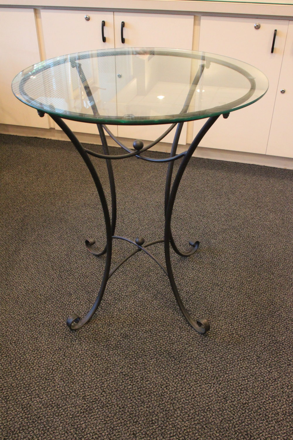 Metal & Glass Round Table - $15 (each)    2 Available