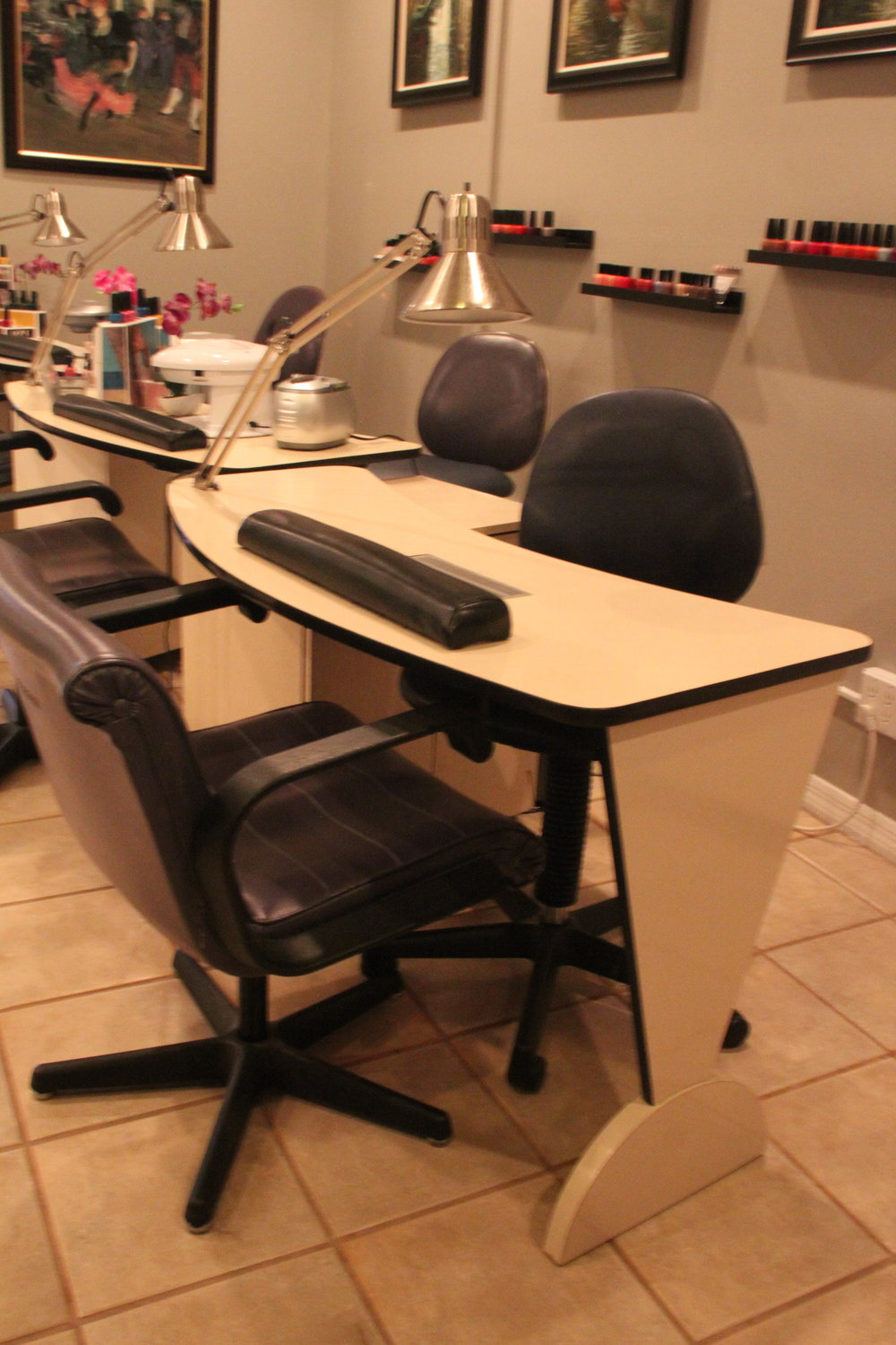 Complete Manicure Station - $200, Includes: Tech chair, Client chair, lamp, and station