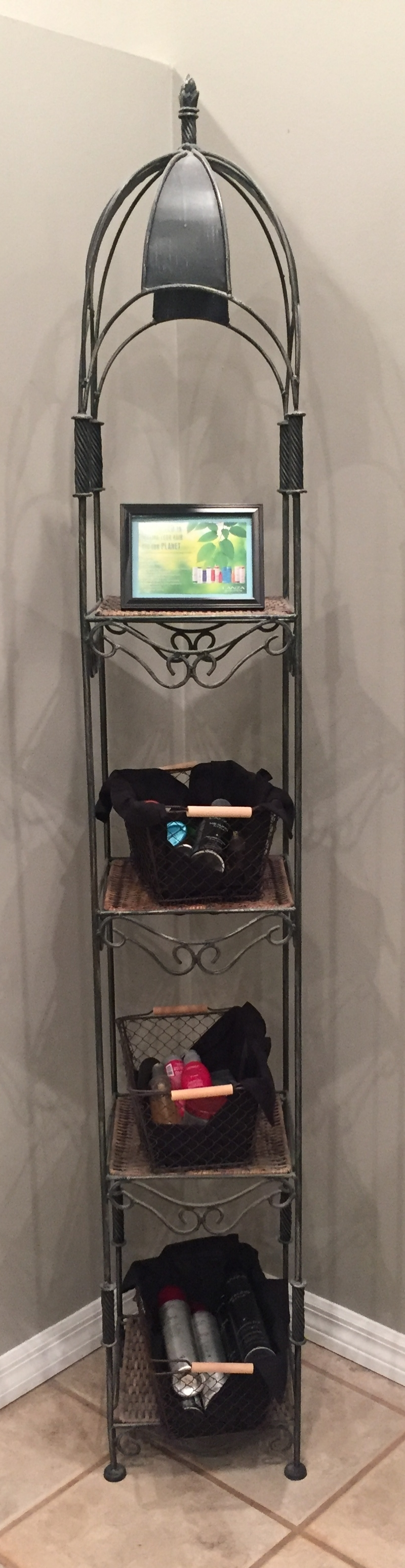Wicker / Metal Display Shelf - $30