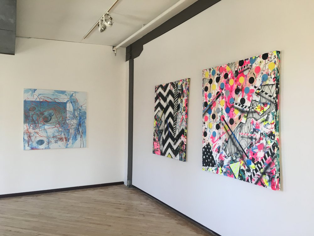 Esther Yi (left) & Kevin Runyon (right two works)