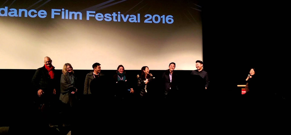 Director Andrew Ahn and select talent at the World Premiere screening of SPA NIGHT at the 2016 Sundance Film Festival. (Photo: via YouTube)