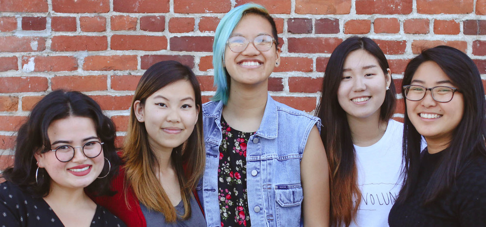 Director Quyên Nguyen-Le with Visual Communications' summer 2016 interns (from left): Joey Scher, Kathy Pham, Connie Oh, and Farrah Su. (Photo: Visual Communications Photographic Archive)