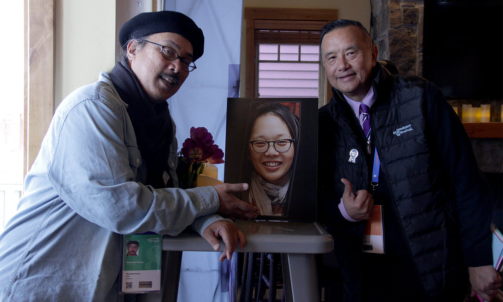 Visual Communications' Abraham Ferrer and David Magdael of David Magdael & Associates — the longest-tenured organizing members of the Asian Pacific Filmmakers Experience in Park City — recognize the work of the sadly-missed Irene Cho, a vital member of The Experience organizing team from 2013 through 2017. (Photo: Aubrey Magalang /Visual Communications Photographic Archive)