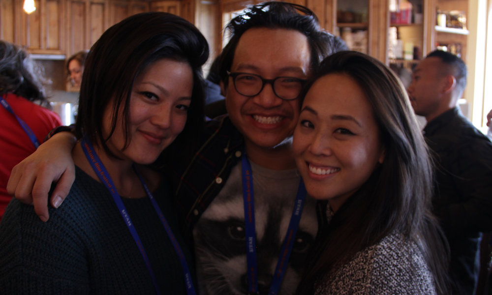 Kickstarter Lodge's David Ninh greets panelist Tiffianie Hsu and Kollaboration's Christine Minji Chang. (Photo: Abraham Ferrer/Visual Communications Photographic Archive)