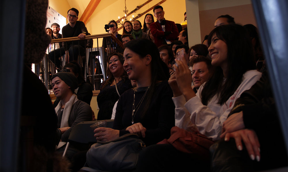 """A ground-level perspective of the audience for the panel, """"#AsAmCreatorRollCall Fireside Chat."""" (Photo: Abraham Ferrer/Visual Communications Photographic Archive)"""