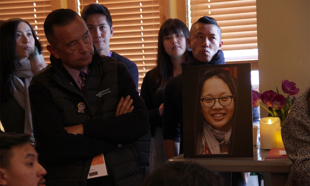 The late and sadly-missed Irene Cho looms large and in charge of the Kickstarter Lodge and the 14th edition of the Asian Pacific Filmmakers Experience in Park City. (Photo: Abraham Ferrer/Visual Communications Photographic Archive)