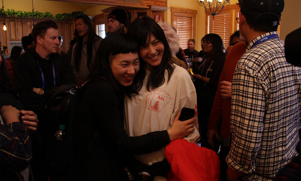 Filmmaker Jess X. Snow greets actress Taryn Akemi Look. (Photo: Abraham Ferrer/Visual Communications Photographic Archive)
