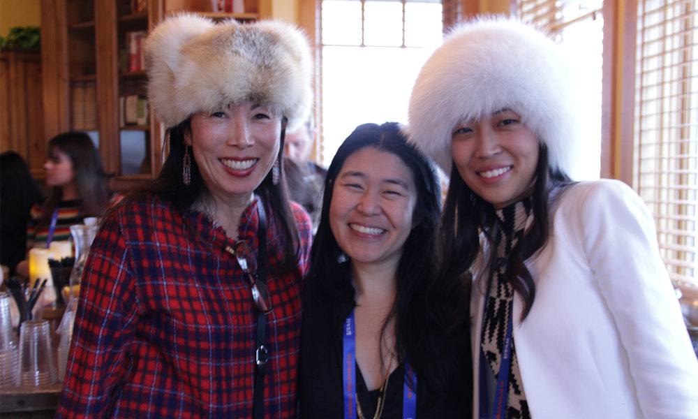 Filmmaker Theresa Loong is feeling left out of place in the company of actress Jodi Long and a friend of the Sundance Film Festival. (Photo: Abraham Ferrer/Visual Communications Photographic Archive)