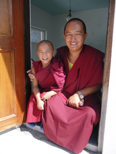 Monks in at the monastery in Nepal