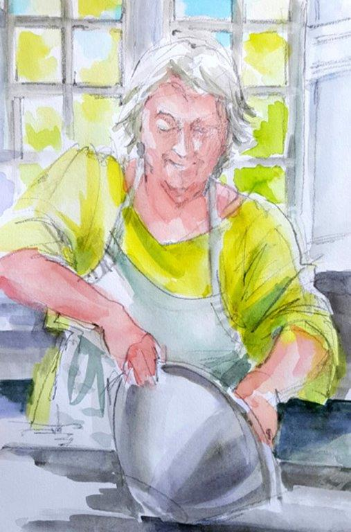 Jeannie making sourdough